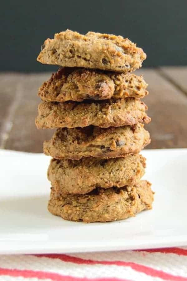 Vegan Chocolate Chip Cookies Stacked high on a plate
