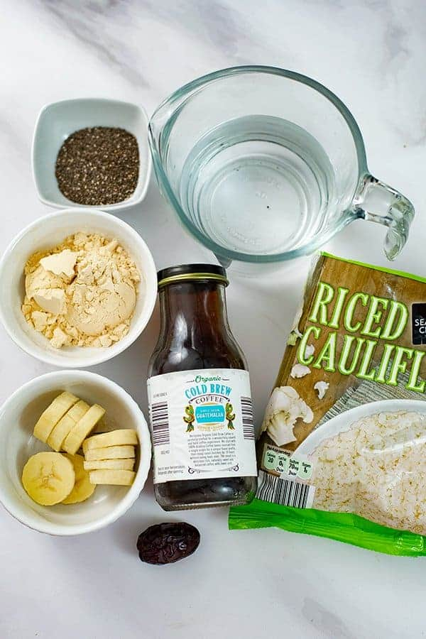 Ingredients for coffee banana protein smoothie