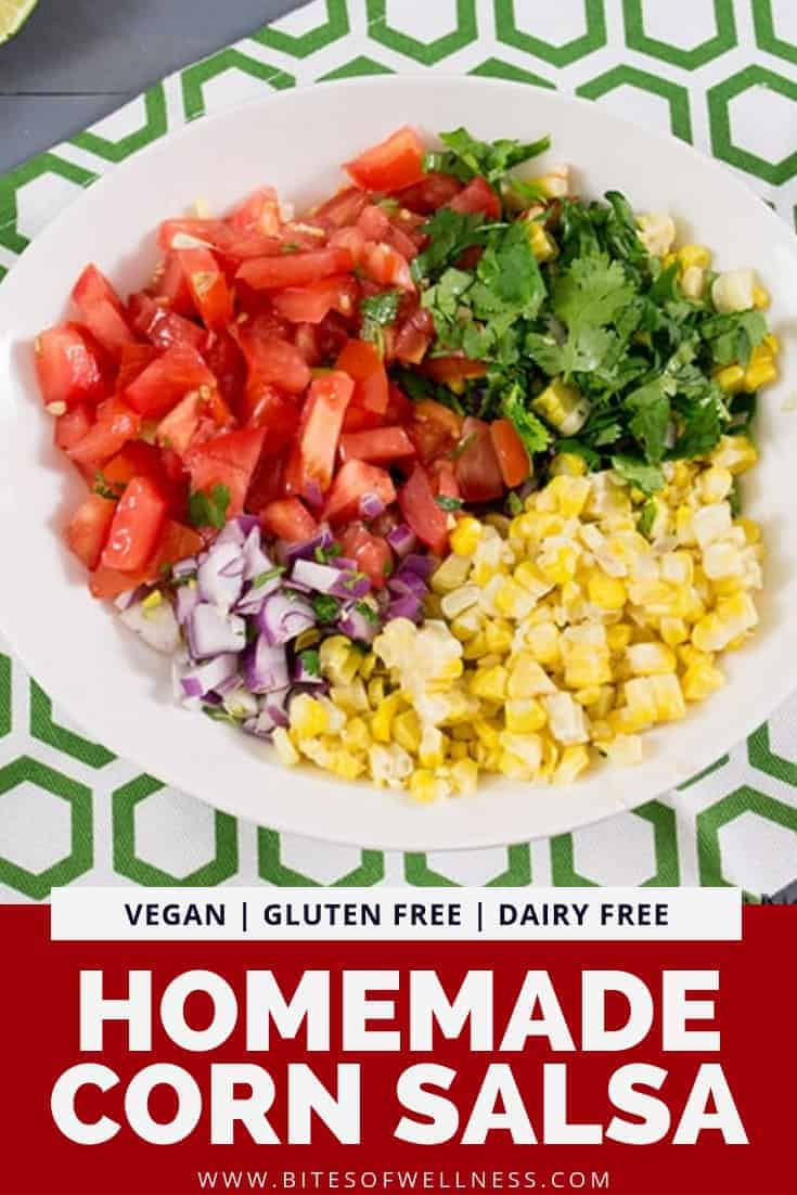 Simple cornhomemadesalsa is a fresh, healthy recipe that you can make anytime of the year. This recipe is the perfect side dish or topping for your favorite burrito bowl or taco Tuesday. Vegan, gluten free, dairy free and super simple to make!