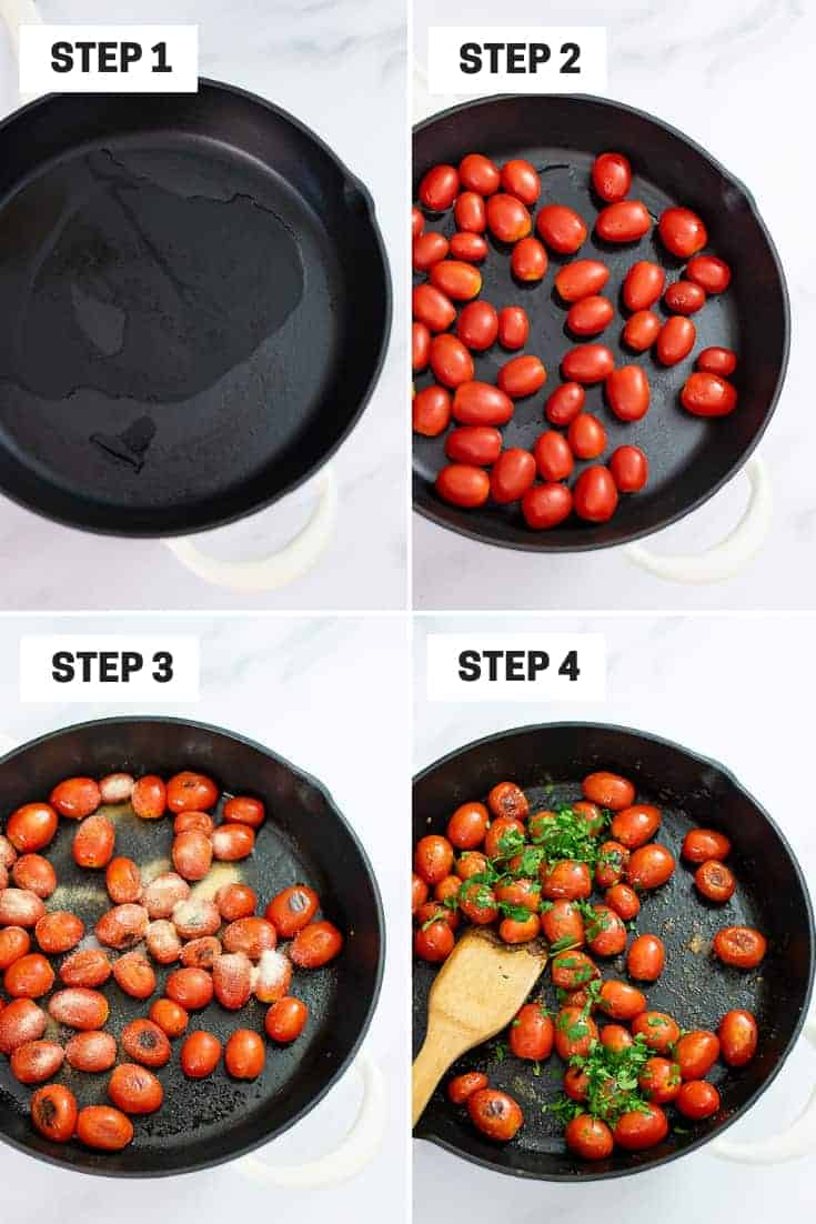 Steps on how to make blistered tomatoes