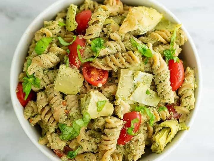Artichoke Pesto Pasta in a large bowl