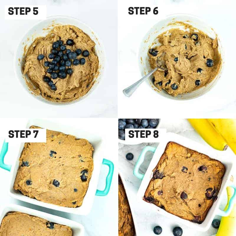 Steps 5-8 on how to make single serve blueberry banana bread
