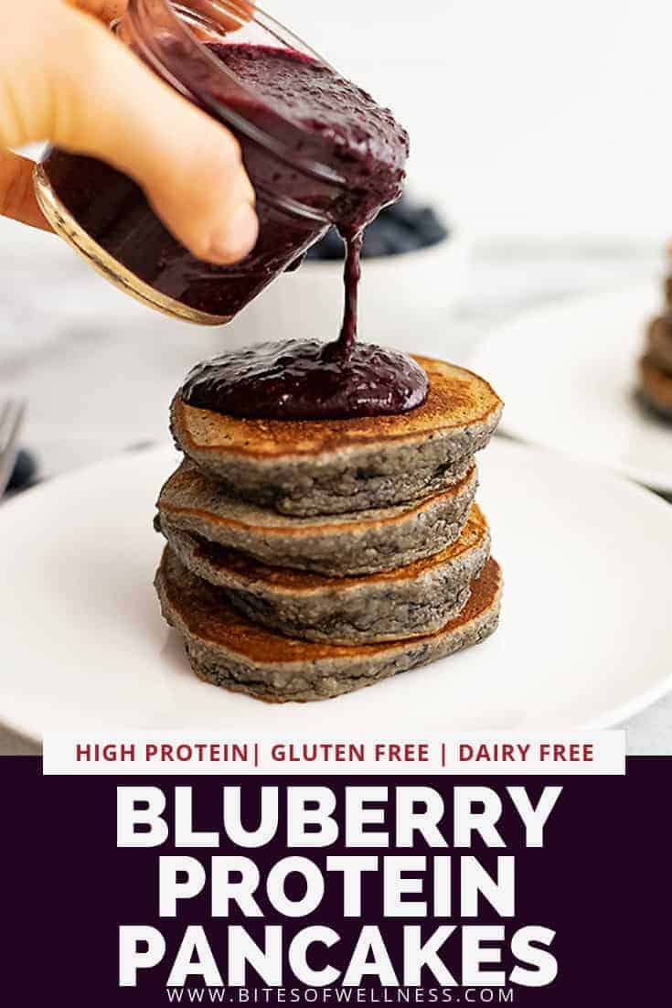 Blueberry protein pancakes with blueberry chia syrup is the perfect healthy breakfast or brunch! The batter for this recipe is combined in the blender and is so easy to make! These pancakes are gluten free, high in protein and ready in about 15 minutes!