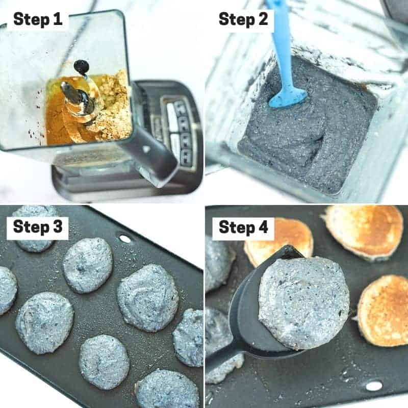Steps on how to make blueberry protein pancakes