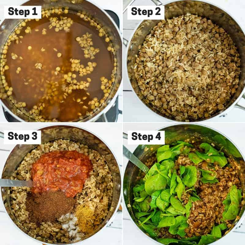 Collage of how to make Mexican Lentils and Rice