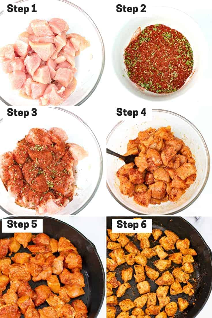 Steps on how to make skillet chicken taco meat