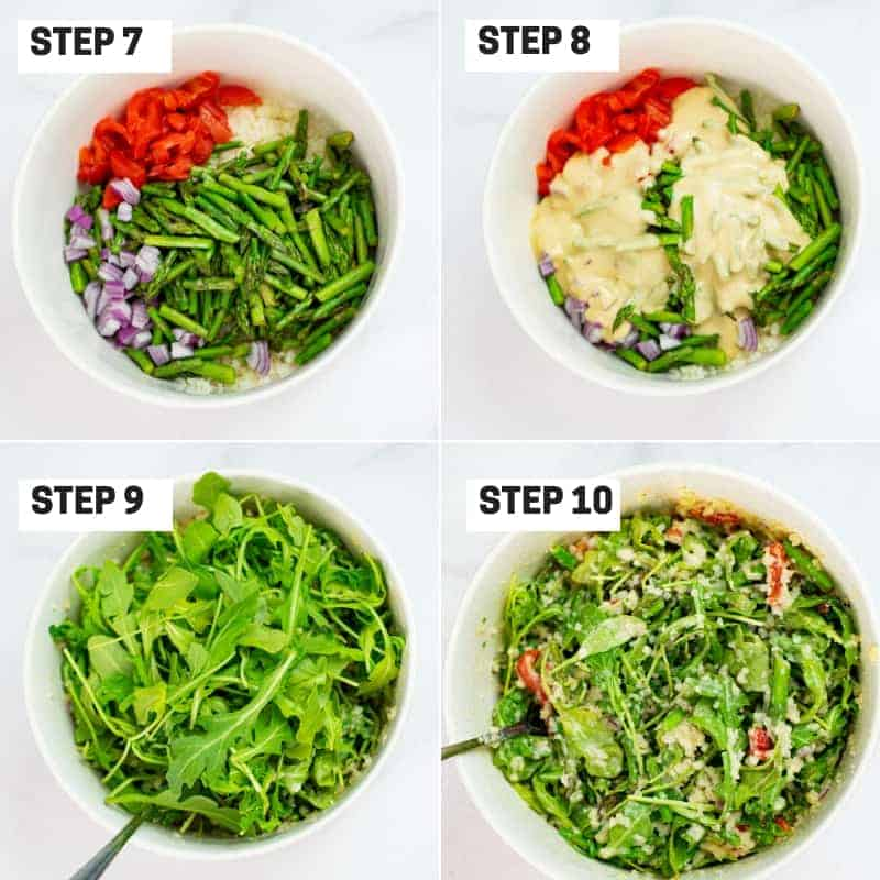 Steps 7-10 on how to make asparagus salad with creamy tahini dressing