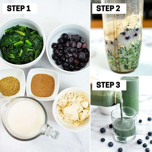 Steps on how to make a spinach blueberry smoothie
