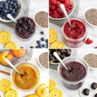 Chia Jam 4 Ways: Blueberry, Raspberry, Peach and Cherry
