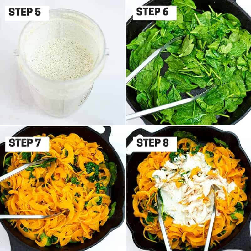 Steps 5-8 on how to make creamy garlic butternut squash noodles