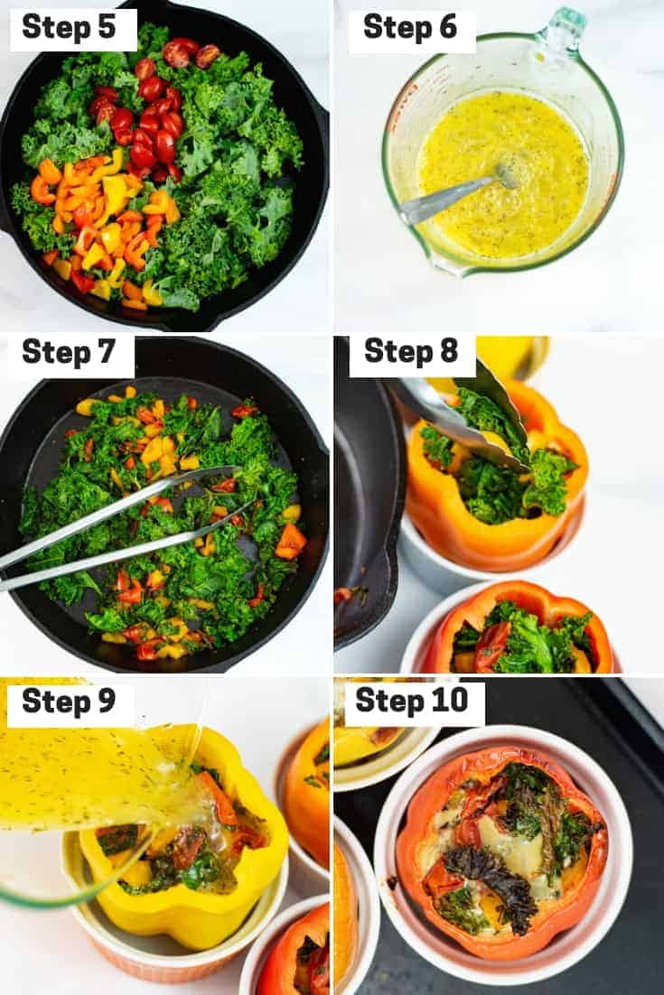 Steps 5-10 on how to make breakfast stuffed peppers
