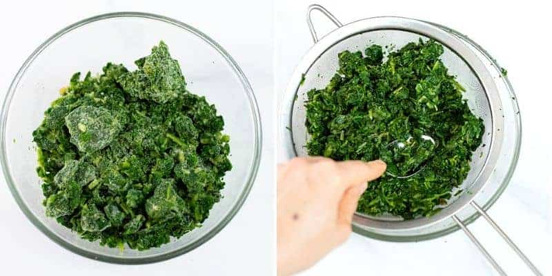 Frozen spinach and defrosted spinach in a colander.