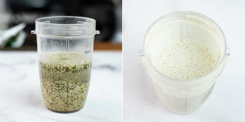 Collage of how to make creamy garlic sauce in high speed blender