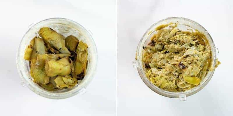 Artichoke hearts in a blender before and after blending
