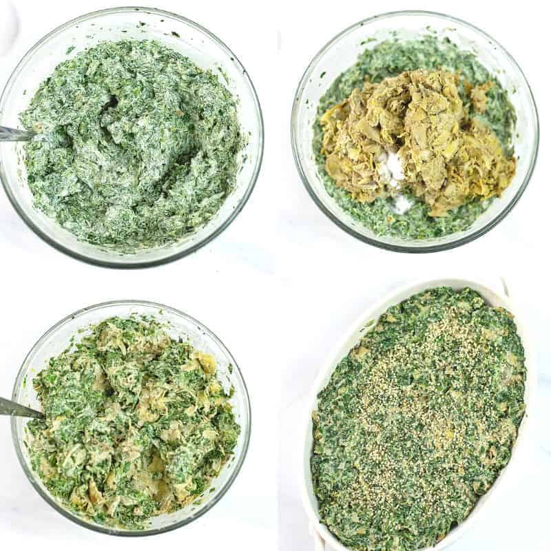 Steps on how to make vegan spinach artichoke dip