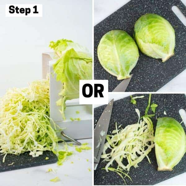 How to shred cabbage using spiralizer or knife