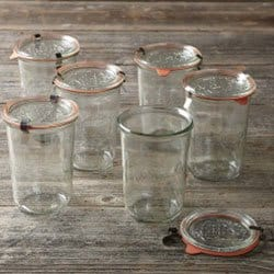 Weck jars on wooden table