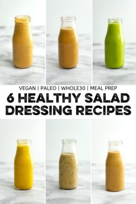 Collage of 6 healthy salad dressing recipes in glass bottles