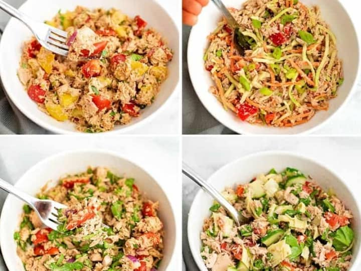 Collage of 4 bowls of healthy tuna salad recipes.