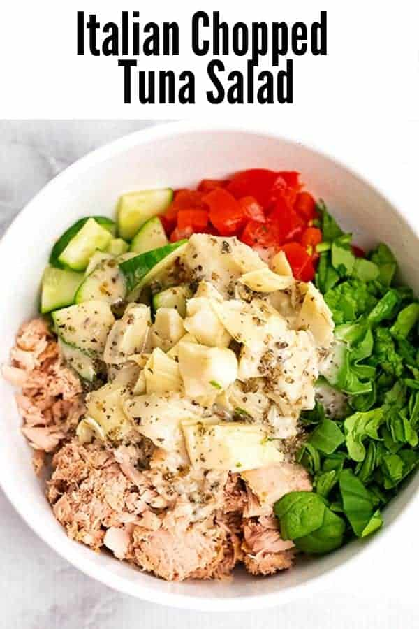 Bowl filled with Italian Chopped Tuna Salad ingredients before stirring.