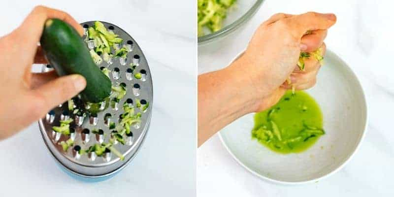 How to make turkey meatballs, grating and squeezing water from a zucchini.