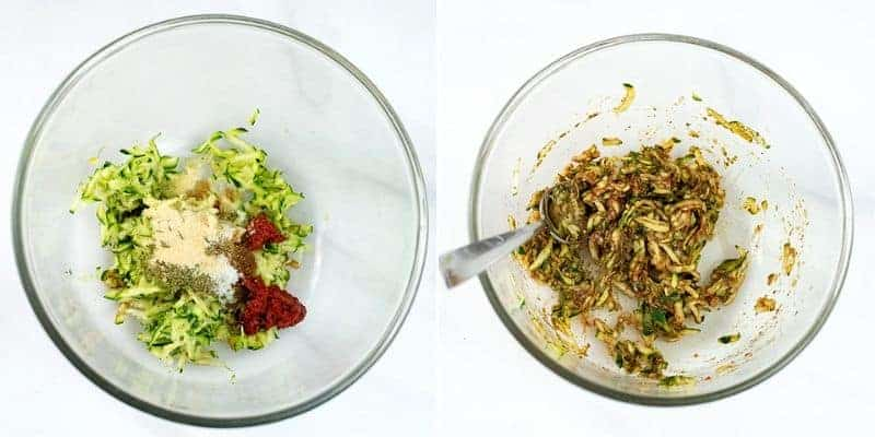 Steps on making meatballs, glass bowl filled with zucchini & spices