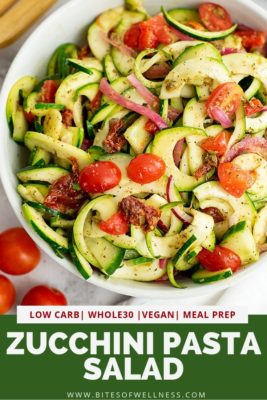 Large bowl of zucchini pasta salad with italian dressing