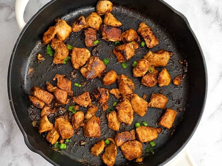 Cooked Asian Chicken in a skillet.