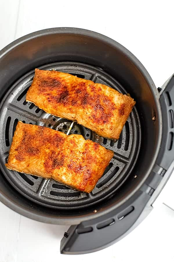 Close up of air fryer salmon after cooking