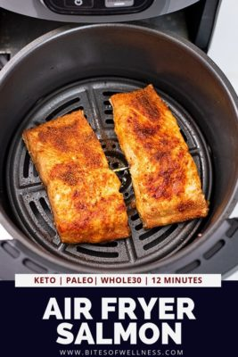 Two pieces of salmon in an air fryer basket