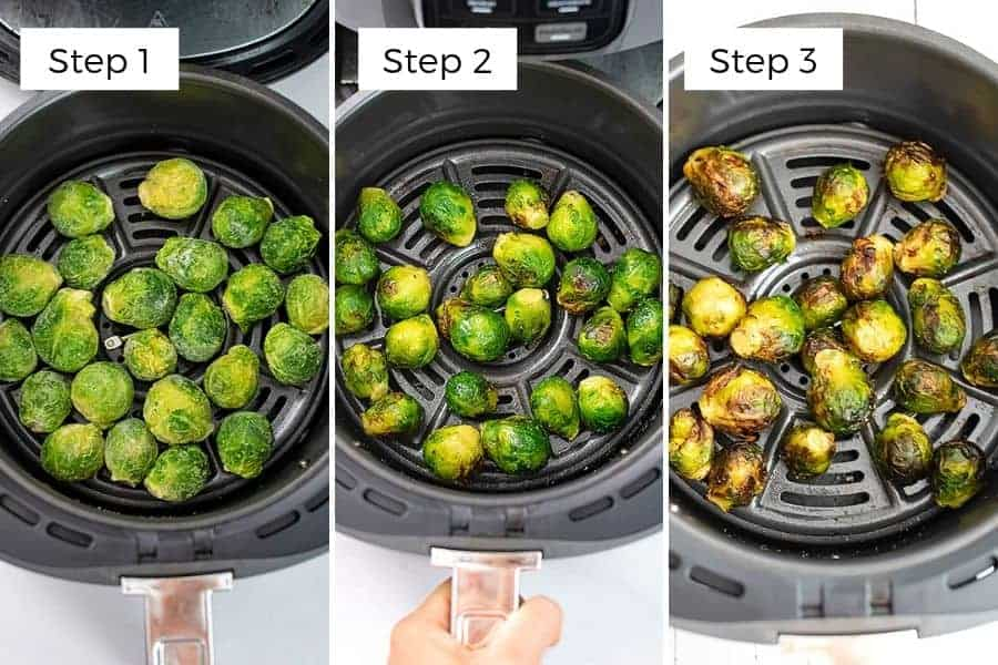 Steps to making frozen brussel sprouts in air fryer.