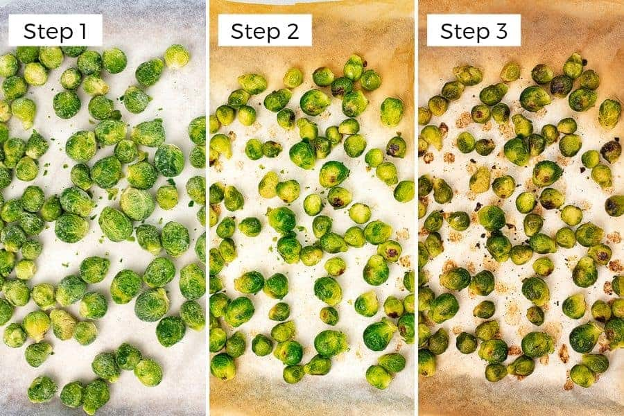 Steps to making frozen brussel sprouts in the oven.