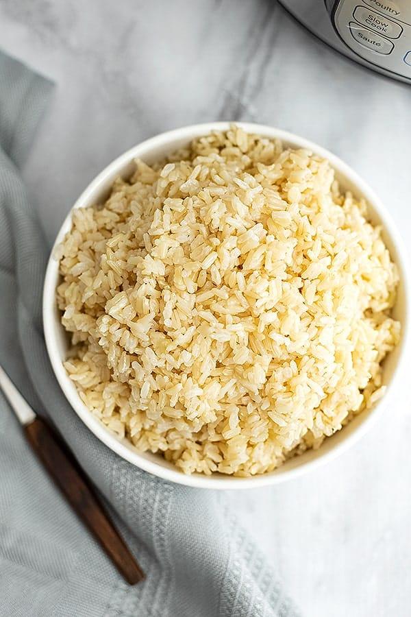 Large bowl of jasmine rice.