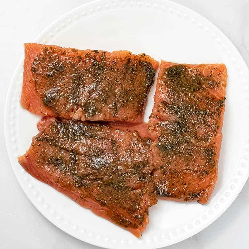 Raw salmon with the Italian rub on top.