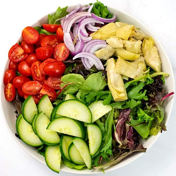 Italian salad before the salmon and dressing is added.