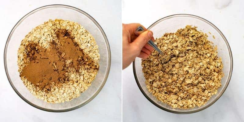 Glass bowl filled with oats and cinnamon before and after stirring.