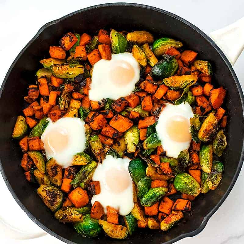 4 cooked eggs on the sweet potato skillet recipe.