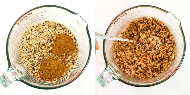 Collage: How to make pumpkin spice sunflower seeds