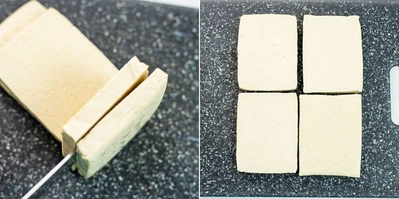How to cut tofu for pressing.