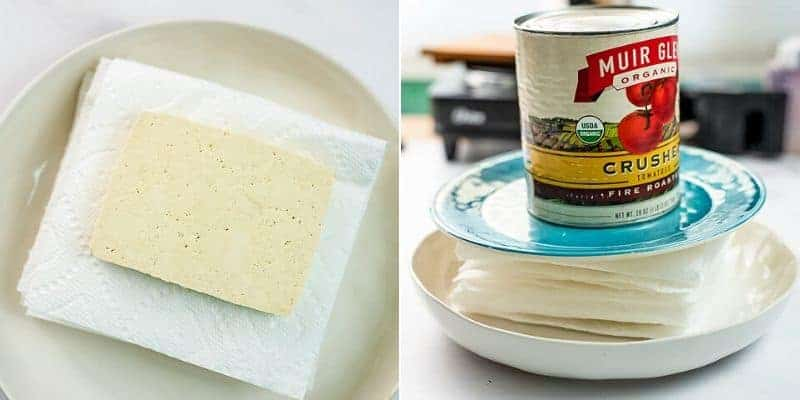 How to press tofu before marinating it.