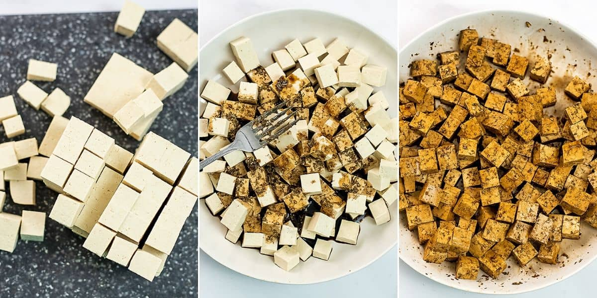 How to cut and marinate tofu.
