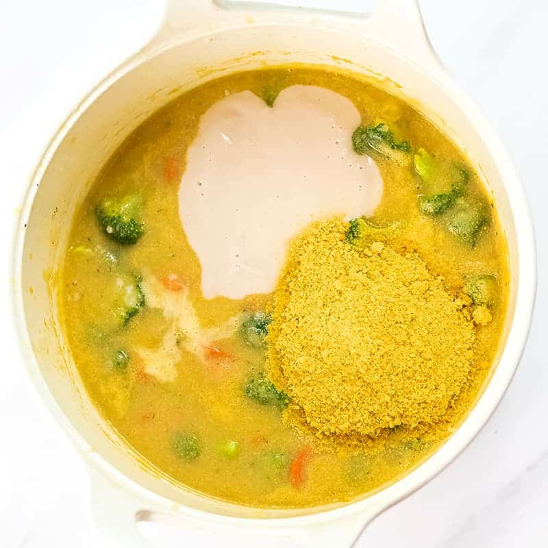 Soup with nutritional yeast, pureed beans and the soup.