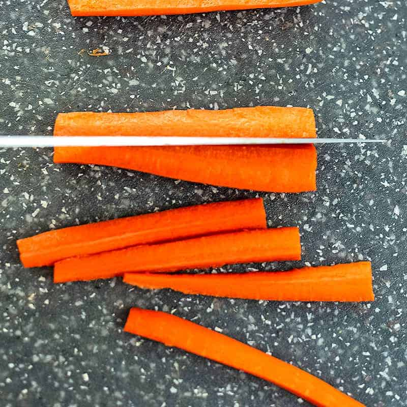 How to cut carrots into fries step 2.