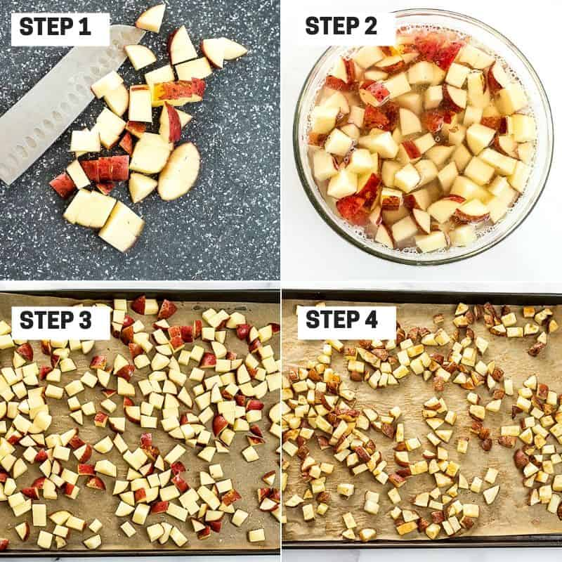 Steps to making roasted potatoes.