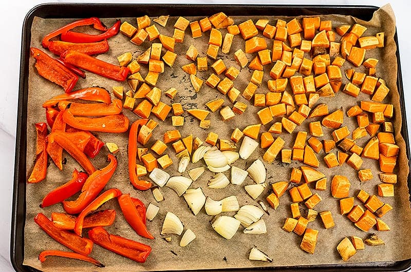 Vegetables for sweet potato red pepper soup after roasting.