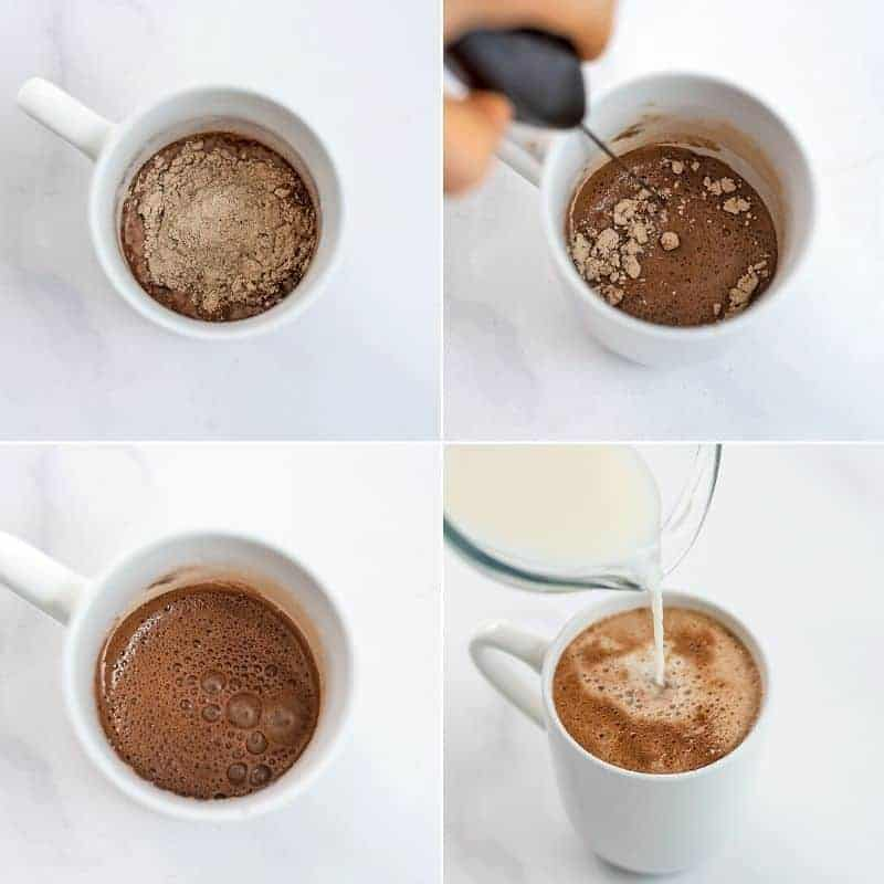Steps to make protein hot chocolate.