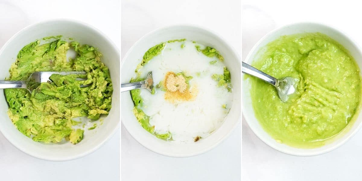 Steps how to make avocado crema.