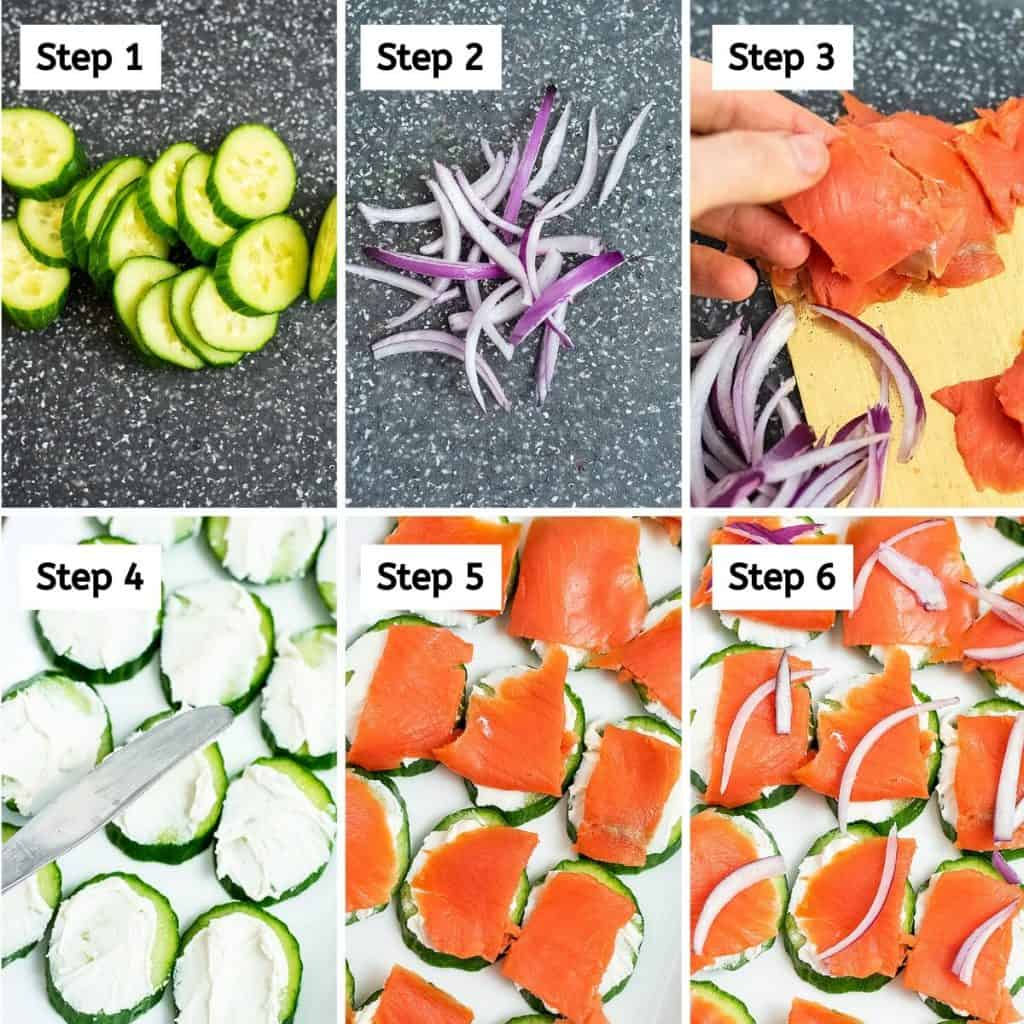 Steps on how to make cucumber smoked salmon bites.