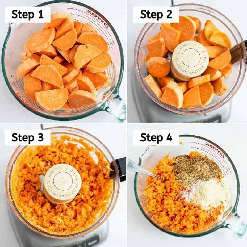 Steps 1-4 on how to make sweet potato tots.