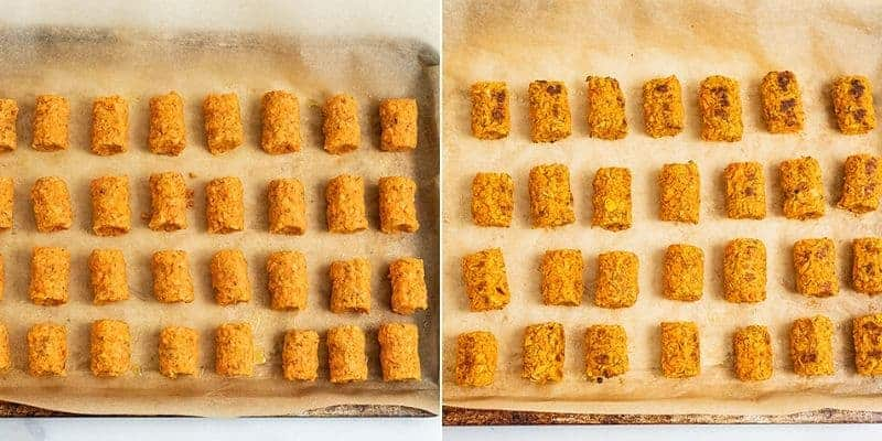 Before and after baking sweet potato tots on baking sheet.